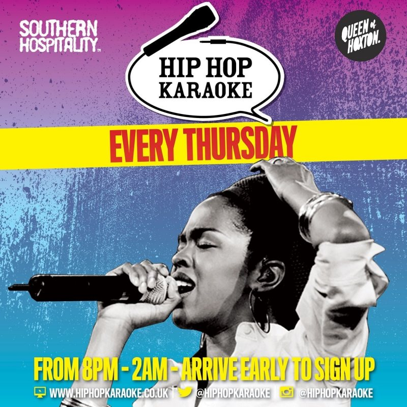 Hip Hop Karaoke at Queen of Hoxton on Thu 26th March 2020 Flyer
