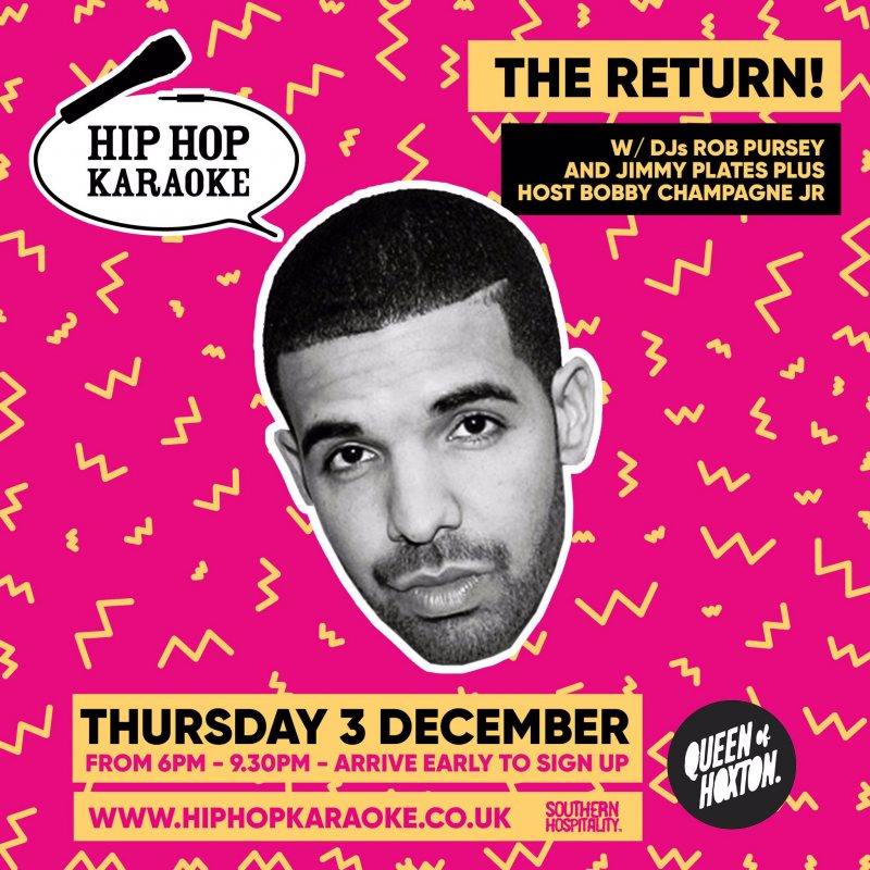 Hip Hop Karaoke at Queen of Hoxton on Thu 3rd December 2020 Flyer