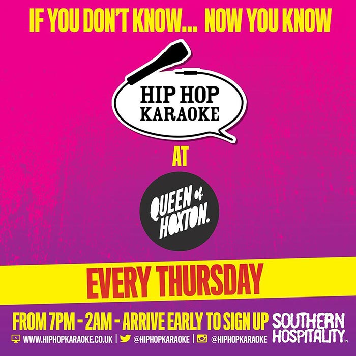 Hip Hop Karaoke at Queen of Hoxton on Thu 20th February 2020 Flyer