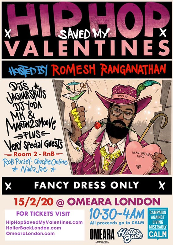 Hip Hop Saved My Valentines at Omeara on Sat 15th February 2020 Flyer