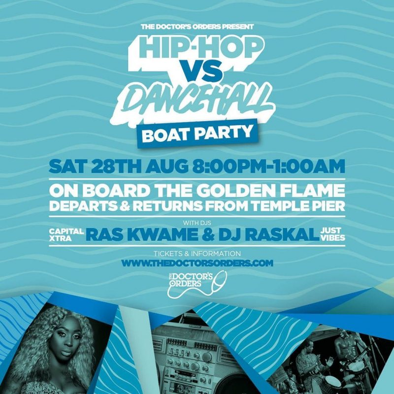 Hip-Hop vs Dancehall - Boat Party at Temple Pier on Sat 28th August 2021 Flyer