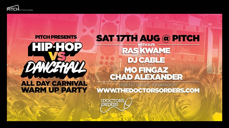 Hip-Hop vs Dancehall at PITCH Stratford on Sat 17th August 2019 Flyer