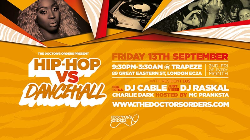 Hip-Hop vs Dancehall at Trapeze on Fri 13th September 2019 Flyer