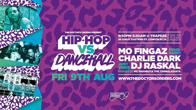 Hip Hop vs Dancehall East at Trapeze on Fri 9th August 2019 Flyer