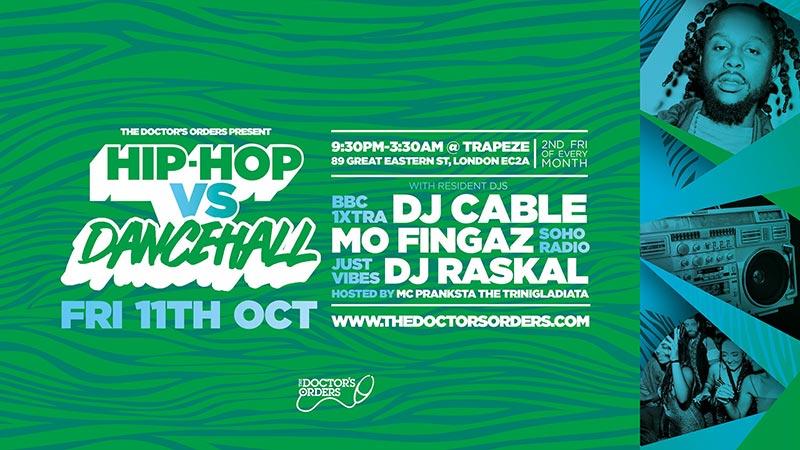 Hip-Hop vs Dancehall at Trapeze on Fri 11th October 2019 Flyer