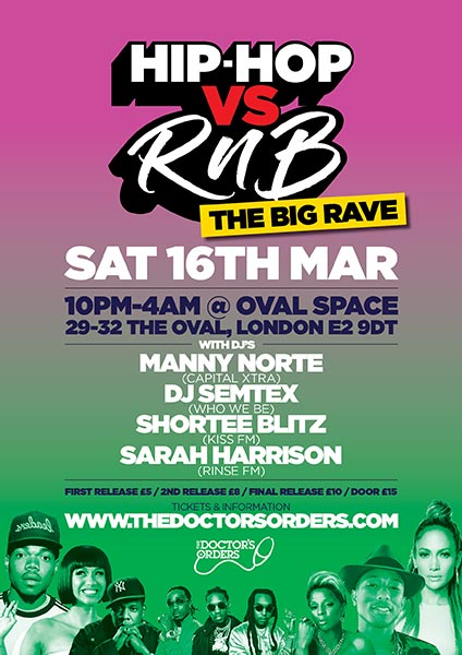 Hip-Hop vs RnB at Oval Space on Sat 16th March 2019 Flyer