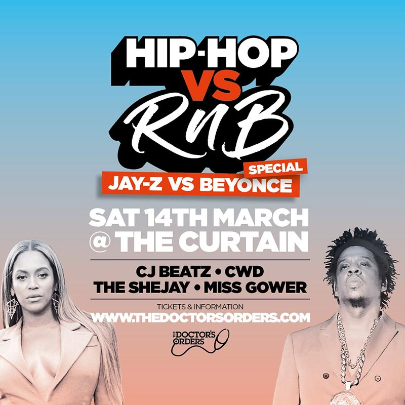 Hip-Hop vs RnB at The Curtain on Sat 14th March 2020 Flyer