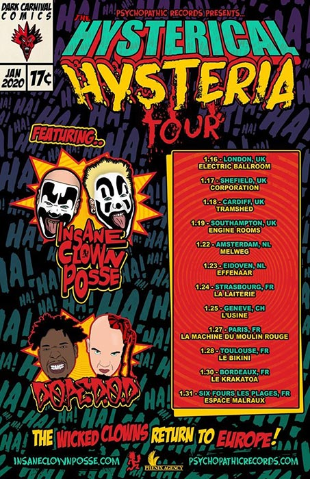 The Hysterical Hysteria Tour at Electric Ballroom on Thu 16th January 2020 Flyer