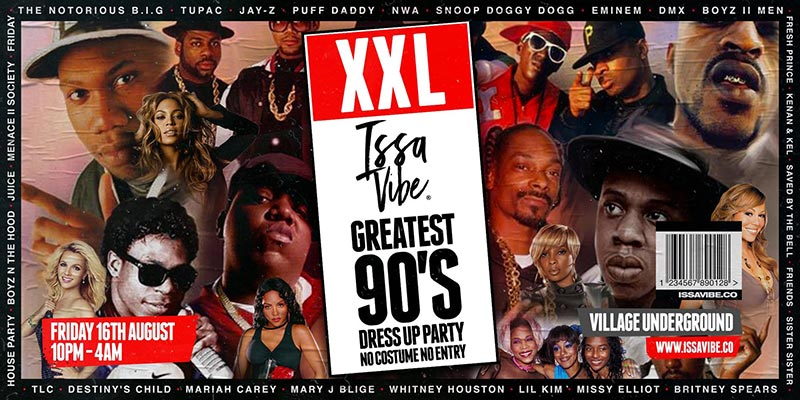 XXL 90's Costume Party at Village Underground on Fri 16th August 2019 Flyer
