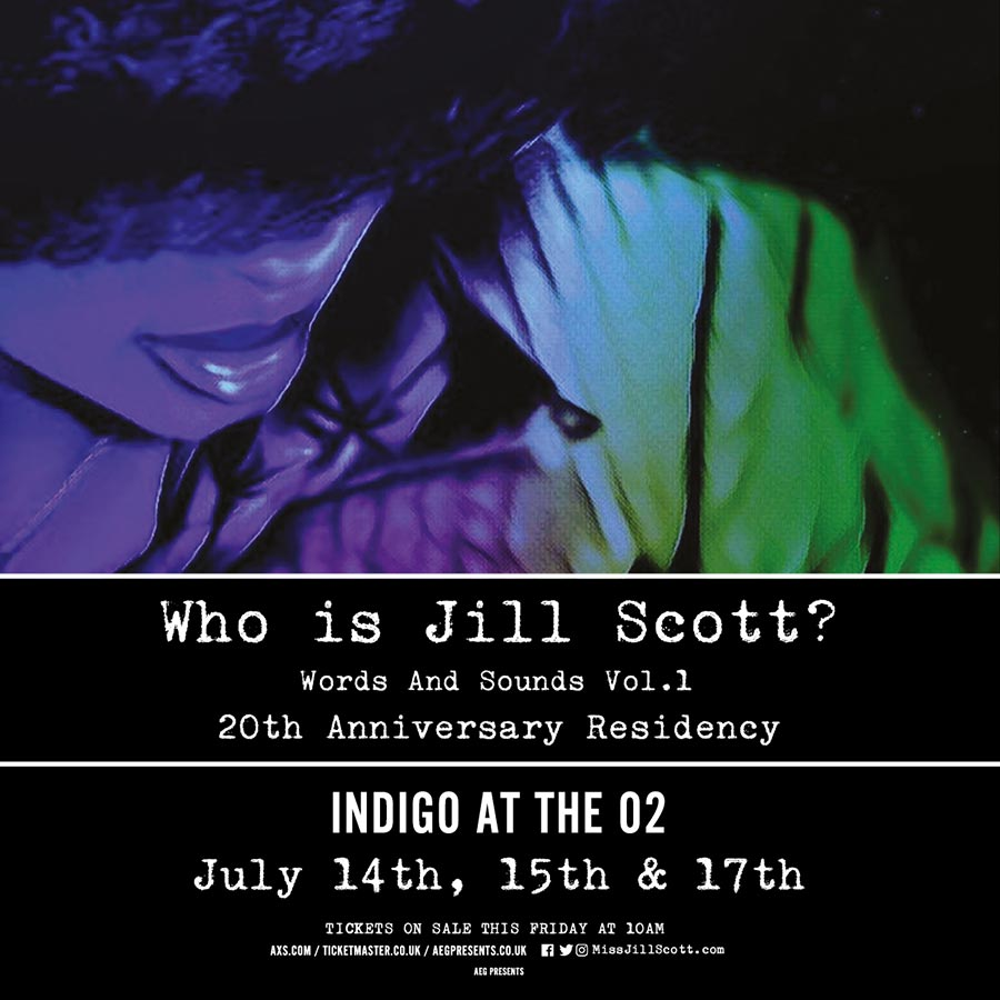 Jill Scott at Indigo2 on Tue 14th July 2020 Flyer