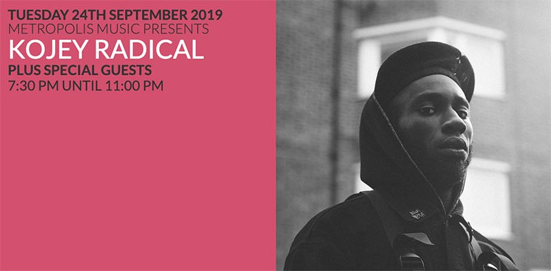 Kojey Radical at Scala on Tue 24th September 2019 Flyer