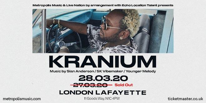 Kranium at Lafayette on Fri 27th March 2020 Flyer