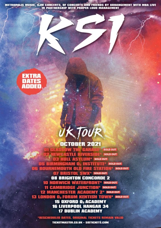 KSI at The Forum on Wed 13th October 2021 Flyer