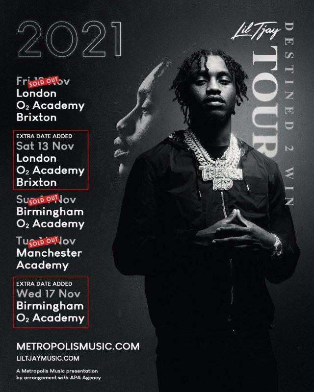 Lil Tjay at Brixton Academy on Fri 12th November 2021 Flyer