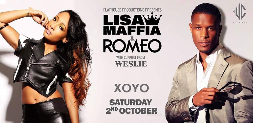 Lisa Maffia & Romeo at XOYO on Sat 2nd October 2021 Flyer