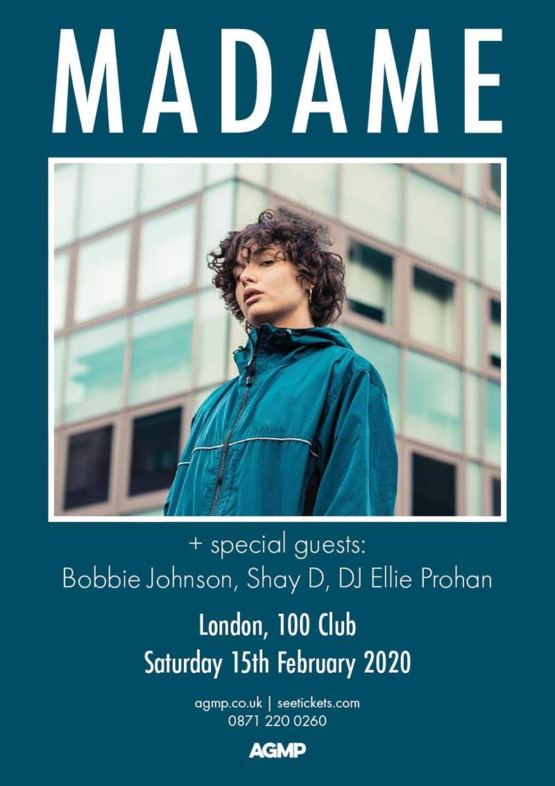 Madame at 100 Club on Sat 15th February 2020 Flyer