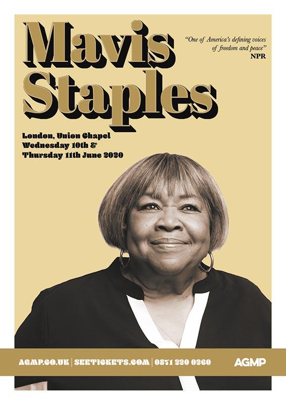 Mavis Staples at Union Chapel on Wed 10th June 2020 Flyer