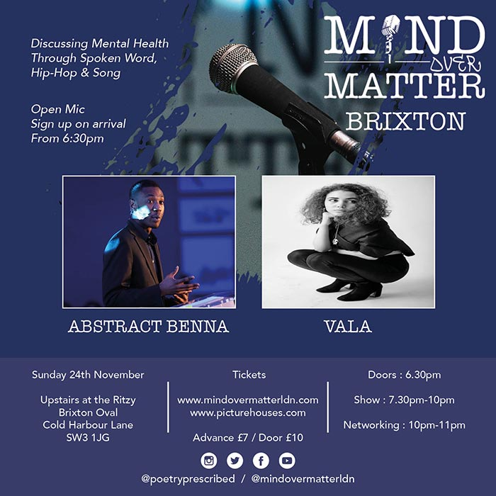 Mind Over Matter at The Ritzy on Sun 24th November 2019 Flyer