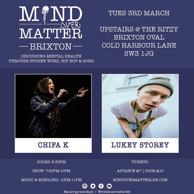Mind Over Matter at The Ritzy on Tue 3rd March 2020 Flyer