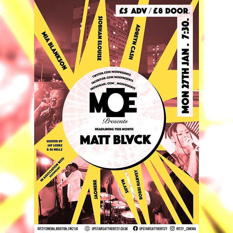 MOEPresents at The Ritzy on Mon 27th January 2020 Flyer