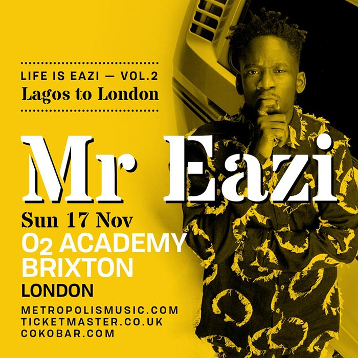 Mr Eazi at Brixton Academy on Sun 17th November 2019 Flyer