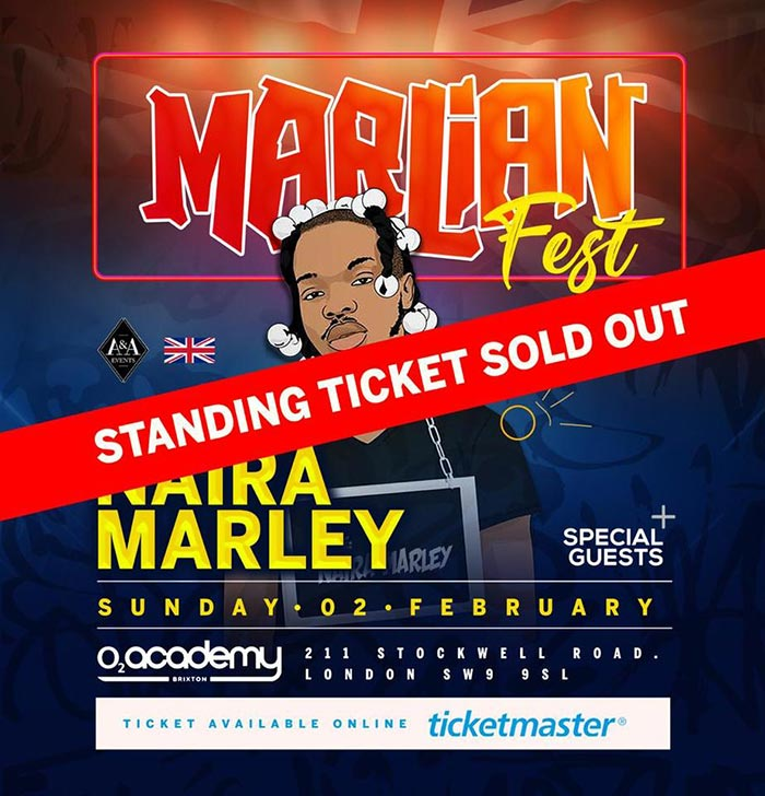 Naira Marley at Brixton Academy on Sun 2nd February 2020 Flyer