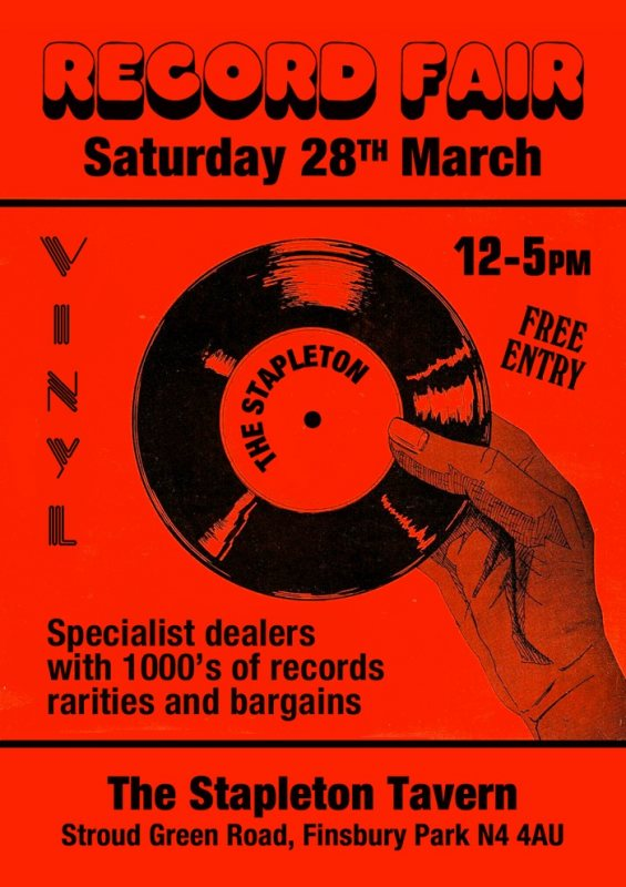 North London Record Fair at Stapleton Tavern on Sat 28th March 2020 Flyer