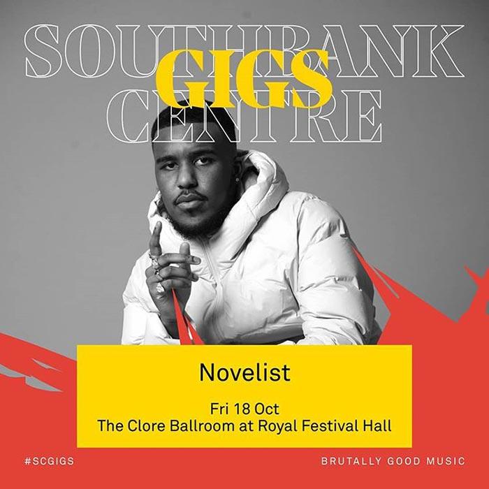 Novelist at Royal Festival Hall on Fri 18th October 2019 Flyer