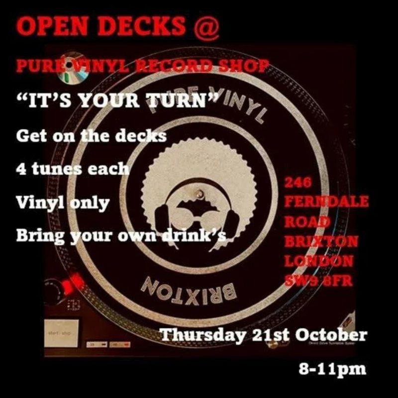 Open Decks at Pure Vinyl at Pure Vinyl on Thu 21st October 2021 Flyer