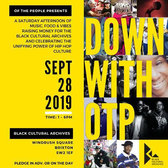 OTP PRESENTS at Black Cultural Archives on Sat 28th September 2019 Flyer