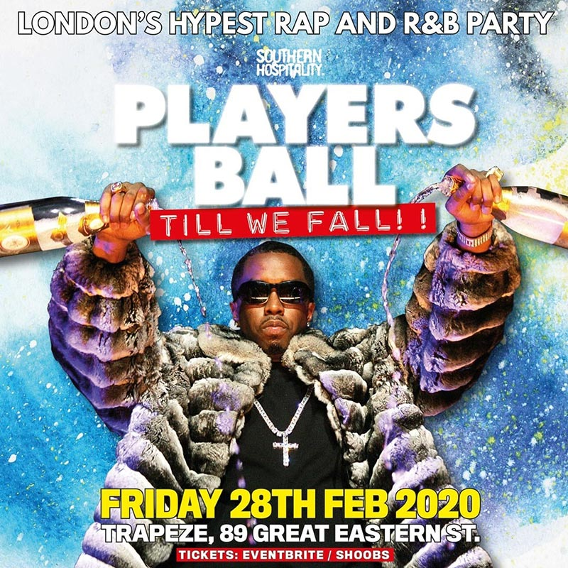 Players Ball at Trapeze on Fri 28th February 2020 Flyer