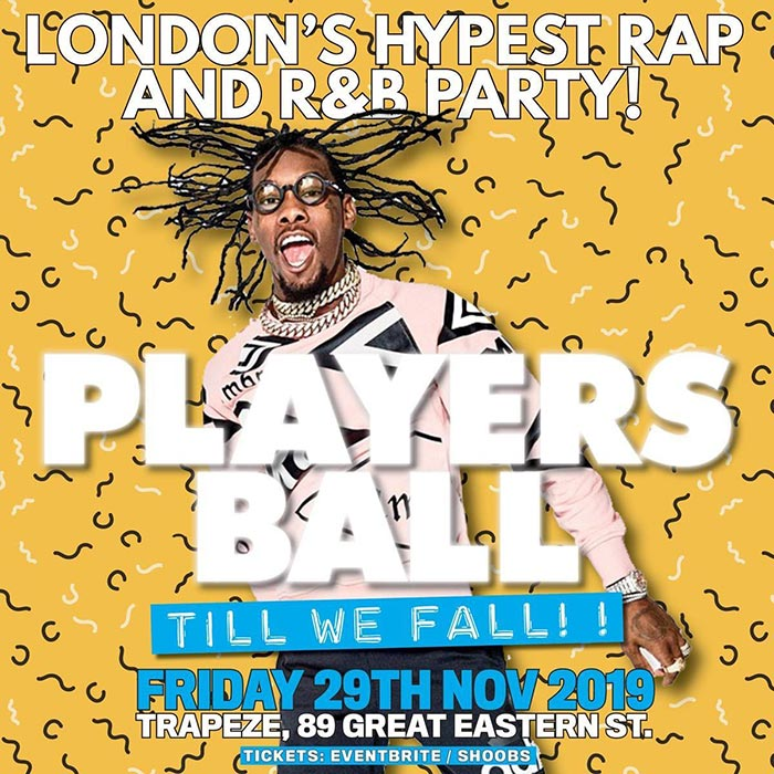 Players Ball at Trapeze on Fri 29th November 2019 Flyer