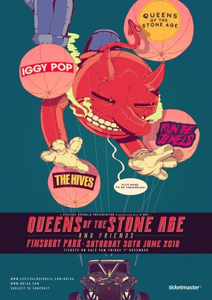 Queens of The Stone Age + Run the Jewels at Finsbury Park on Sat 30th June 2018 Flyer