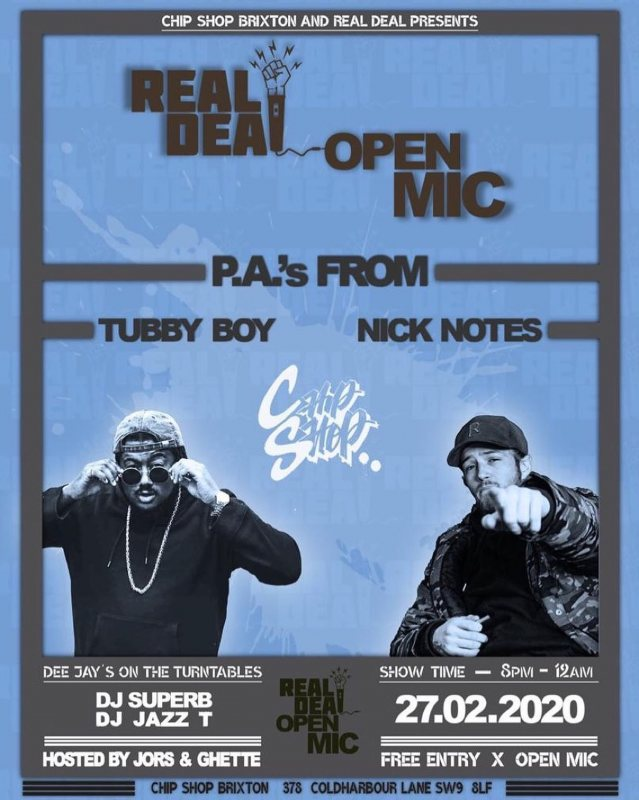 Real Deal Open Mic at Chip Shop BXTN on Thu 27th February 2020 Flyer