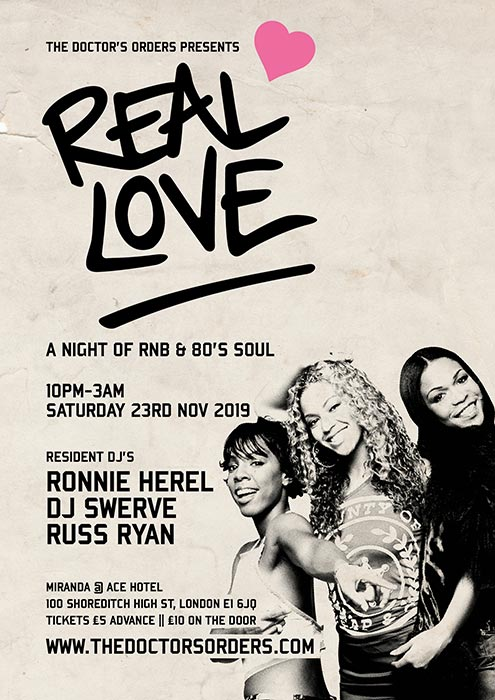 Real Love at Ace Hotel on Sat 23rd November 2019 Flyer