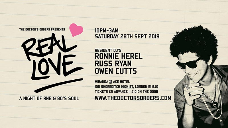 Real Love at Ace Hotel on Sat 28th September 2019 Flyer