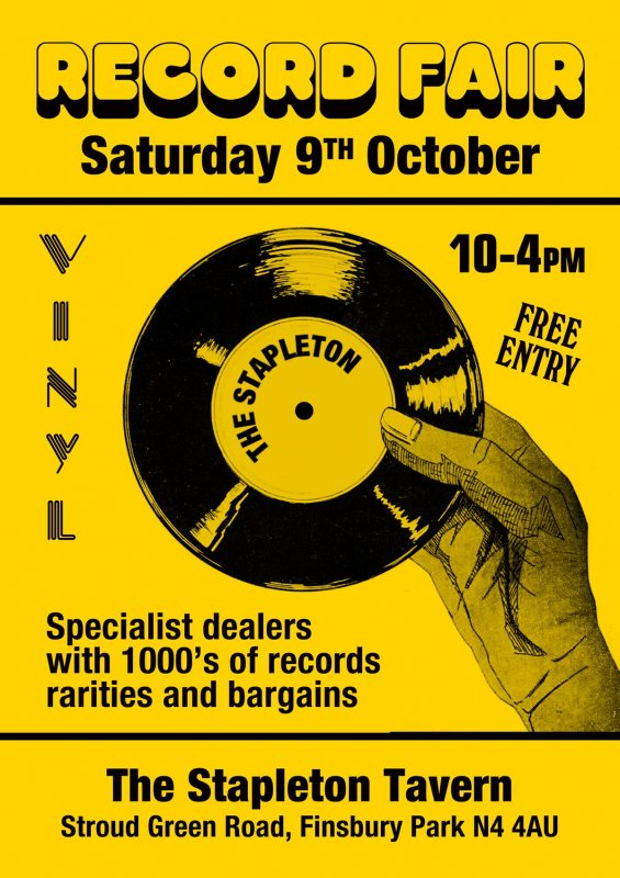 Record Fair at Stapleton Tavern on Sat 9th October 2021 Flyer