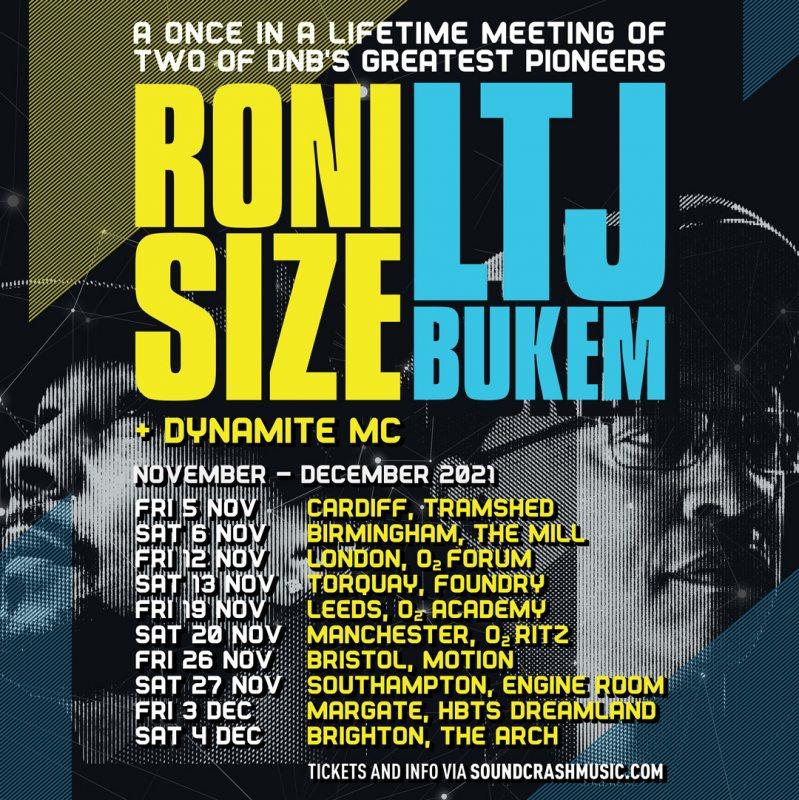 Roni Size x LTJ Bukem at The Forum on Fri 12th November 2021 Flyer