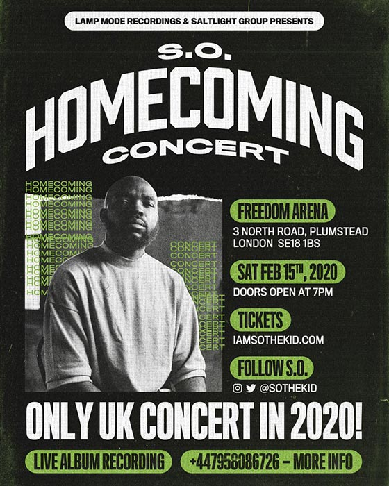 S.O. - Homecoming Concert at Freedom Arena on Sat 15th February 2020 Flyer