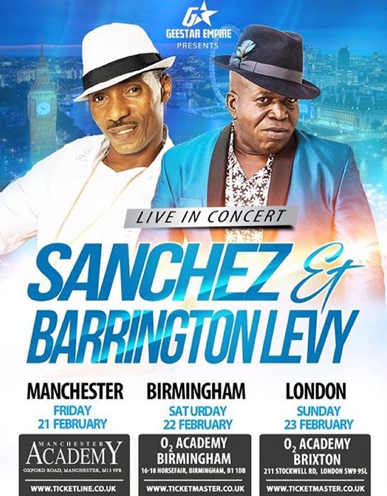 Sanchez & Barrington Levy at Brixton Academy on Sun 23rd February 2020 Flyer