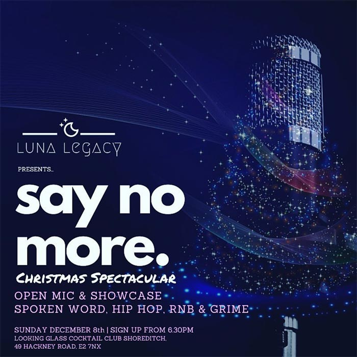 Say No More at Looking Glass Cocktail Club on Sun 8th December 2019 Flyer