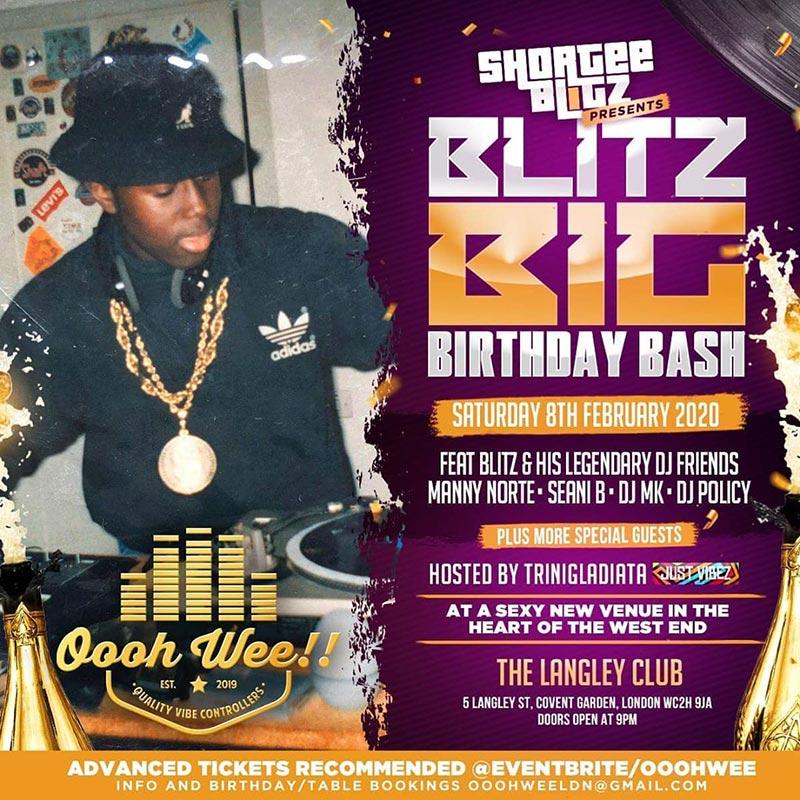 Shortee Blitz Big Birthday Bash  at The Langley on Fri 31st January 2020 Flyer