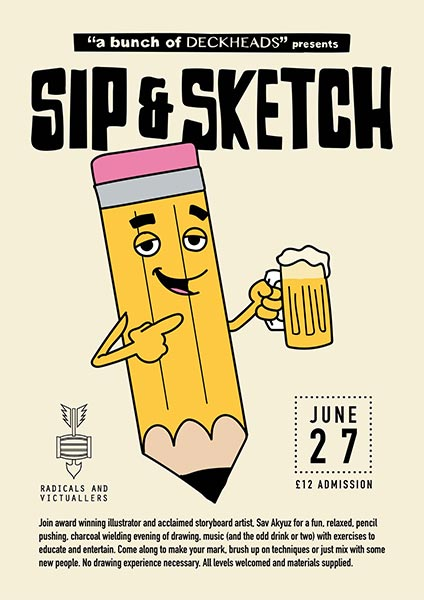 Sip & Sketch at Radicals & Victuallers on Thu 27th June 2019 Flyer