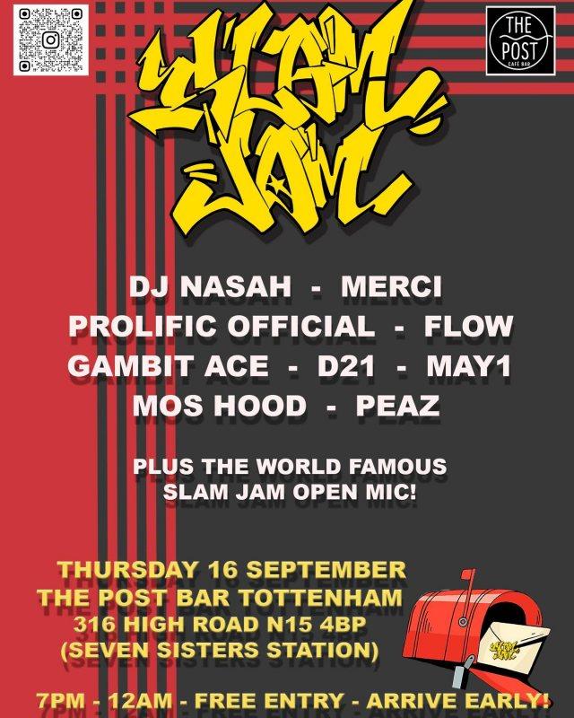 Slam Jam  at The Post Bar on Thu 16th September 2021 Flyer