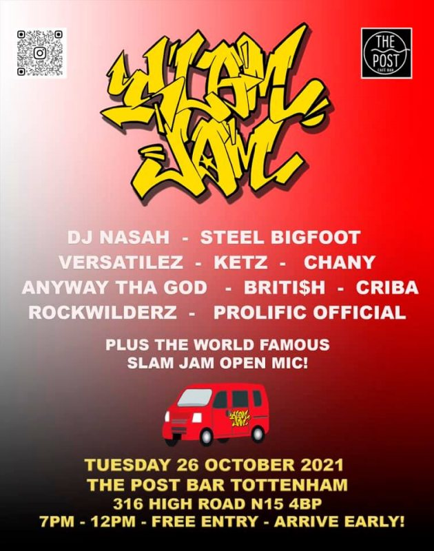 Slam Jam  at The Post Bar on Tue 26th October 2021 Flyer