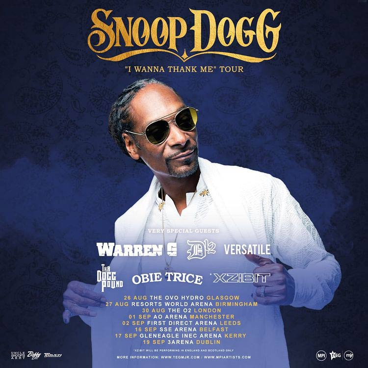 Snoop Dogg at The o2 on Tue 8th March 2022 Flyer