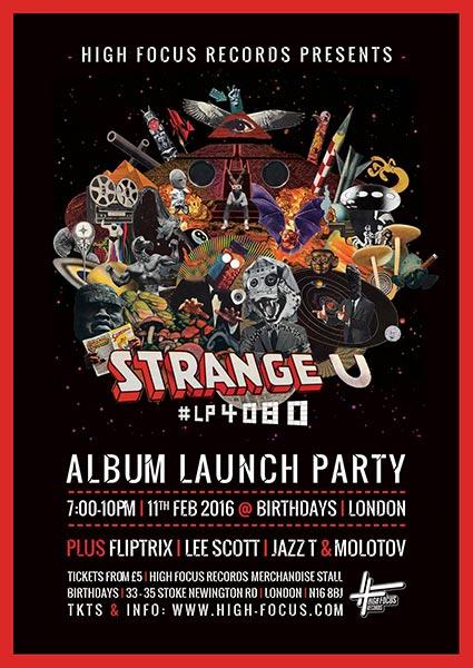 Strange-U Album Launch Party at Birthdays on Sat 11th February 2017 Flyer