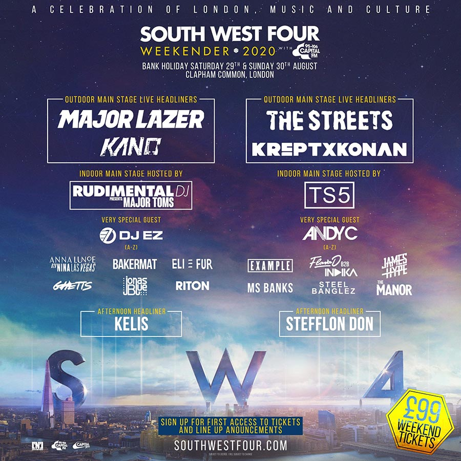 SW4 Festival Saturday at Clapham Common on Sat 29th August 2020 Flyer
