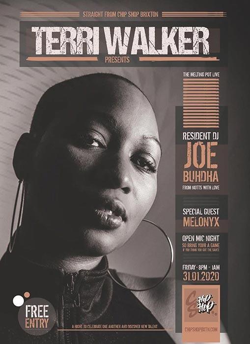 Terri Walker at Chip Shop BXTN on Fri 31st January 2020 Flyer