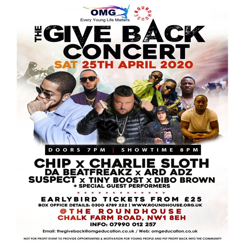 The Give Back Concert at The Roundhouse on Sat 25th April 2020 Flyer